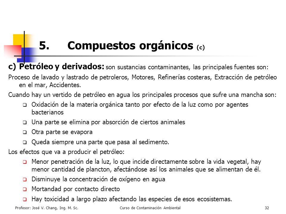Profesor: José V. Chang, Ing. M. Sc.Curso de Contaminación Ambiental32 5.Compuestos orgánicos (c) c)Petróleo y derivados: son sustancias contaminantes