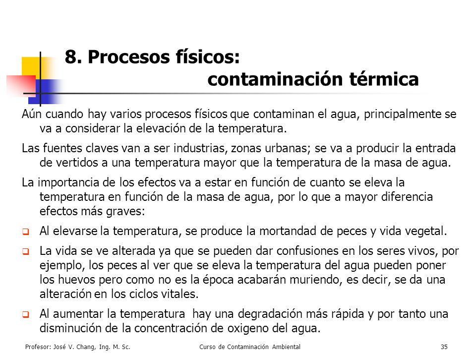 Profesor: José V. Chang, Ing. M. Sc.Curso de Contaminación Ambiental35 8. Procesos físicos: contaminación térmica Aún cuando hay varios procesos físic