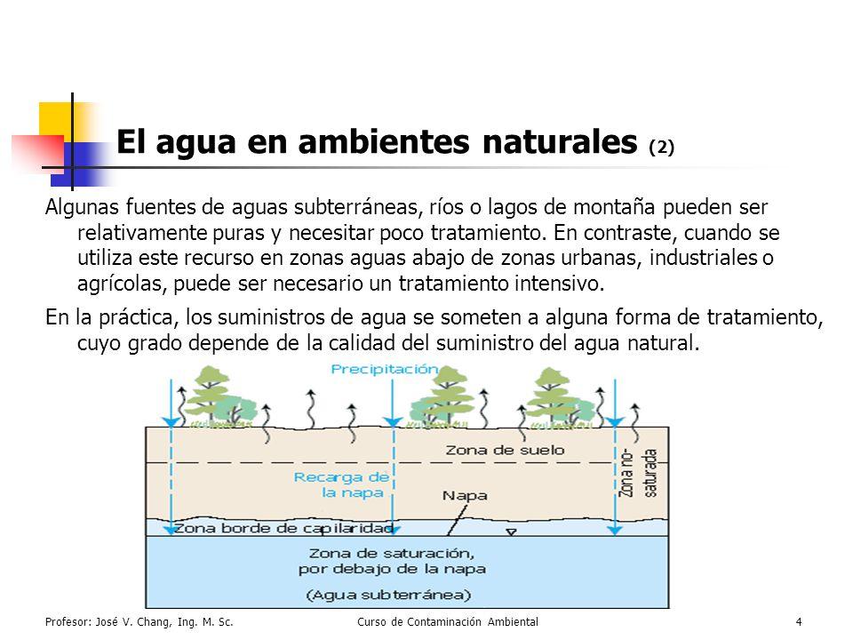 Profesor: José V. Chang, Ing. M. Sc.Curso de Contaminación Ambiental4 El agua en ambientes naturales (2) Algunas fuentes de aguas subterráneas, ríos o