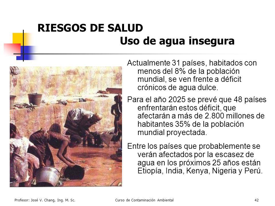 Profesor: José V. Chang, Ing. M. Sc.Curso de Contaminación Ambiental42 RIESGOS DE SALUD Uso de agua insegura Actualmente 31 países, habitados con meno