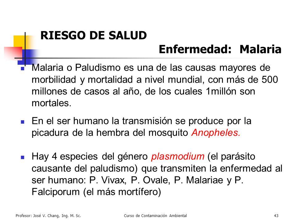 Profesor: José V. Chang, Ing. M. Sc.Curso de Contaminación Ambiental43 RIESGO DE SALUD Enfermedad: Malaria Malaria o Paludismo es una de las causas ma