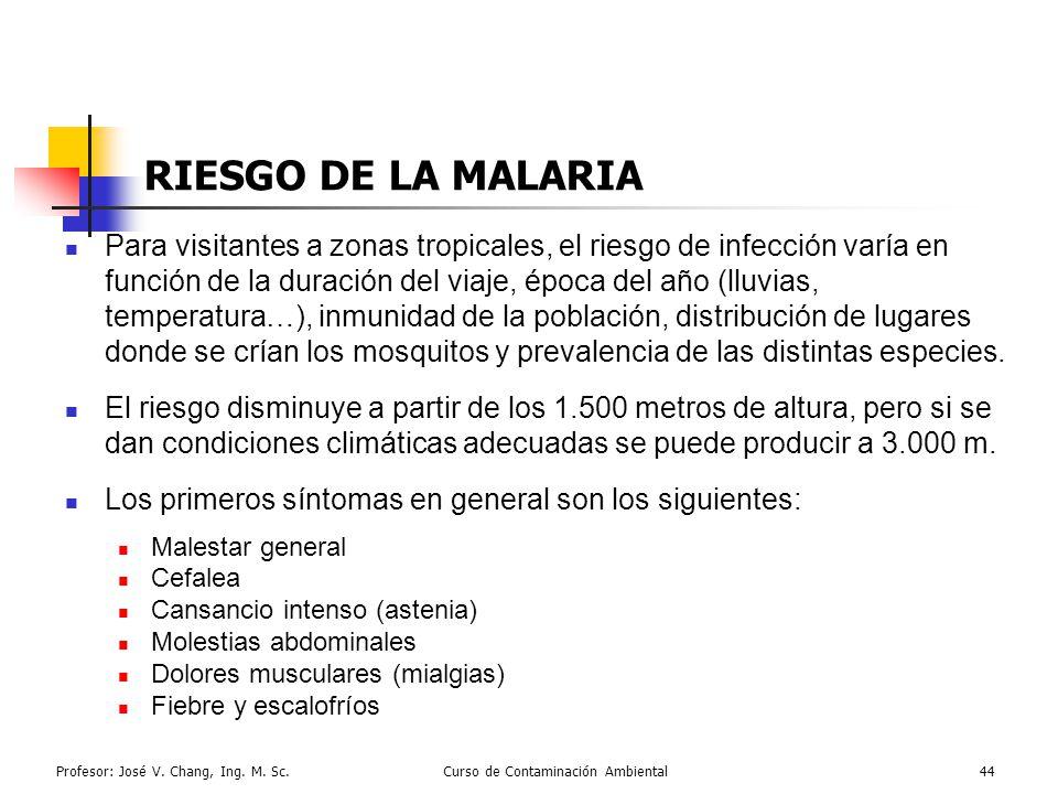 Profesor: José V. Chang, Ing. M. Sc.Curso de Contaminación Ambiental44 RIESGO DE LA MALARIA Para visitantes a zonas tropicales, el riesgo de infección