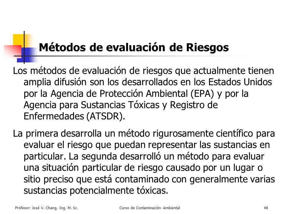 Profesor: José V. Chang, Ing. M. Sc.Curso de Contaminación Ambiental48 Métodos de evaluación de Riesgos Los métodos de evaluación de riesgos que actua