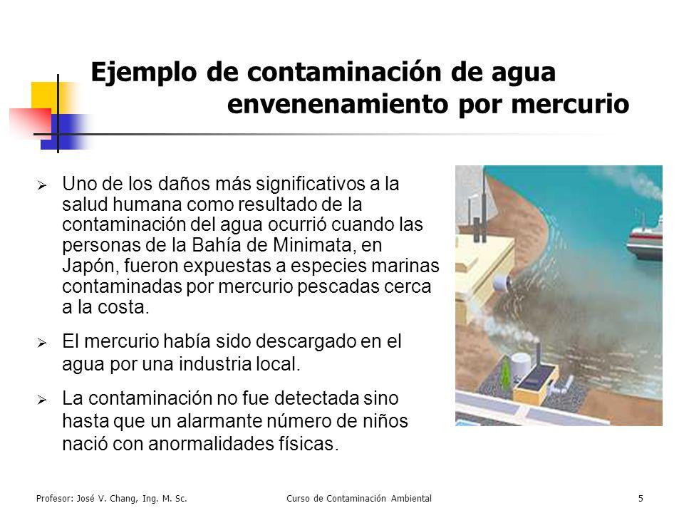Profesor: José V. Chang, Ing. M. Sc.Curso de Contaminación Ambiental5 Ejemplo de contaminación de agua envenenamiento por mercurio Uno de los daños má