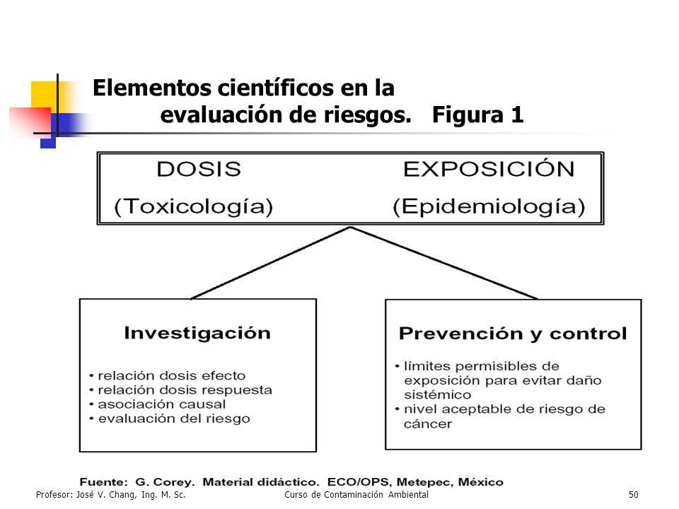 Profesor: José V. Chang, Ing. M. Sc.Curso de Contaminación Ambiental50 Elementos científicos en la evaluación de riesgos. Figura 1