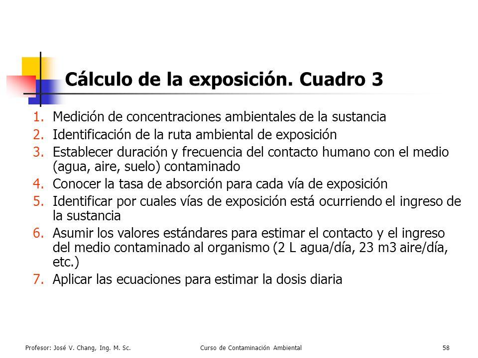 Profesor: José V. Chang, Ing. M. Sc.Curso de Contaminación Ambiental58 Cálculo de la exposición. Cuadro 3 1.Medición de concentraciones ambientales de