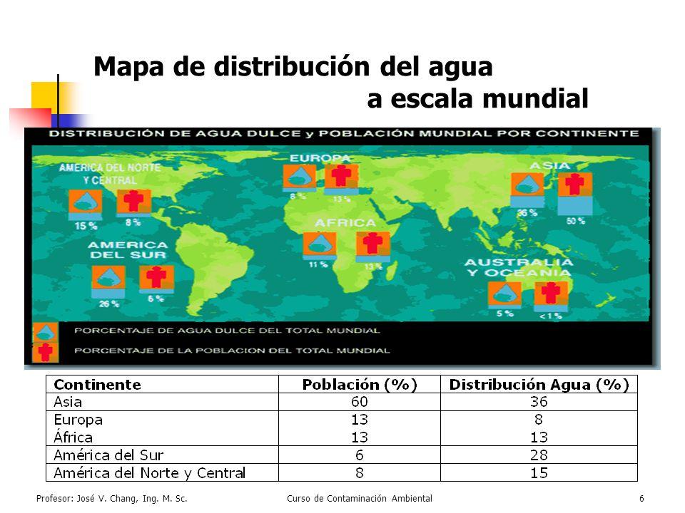 Profesor: José V. Chang, Ing. M. Sc.Curso de Contaminación Ambiental6 Mapa de distribución del agua a escala mundial -