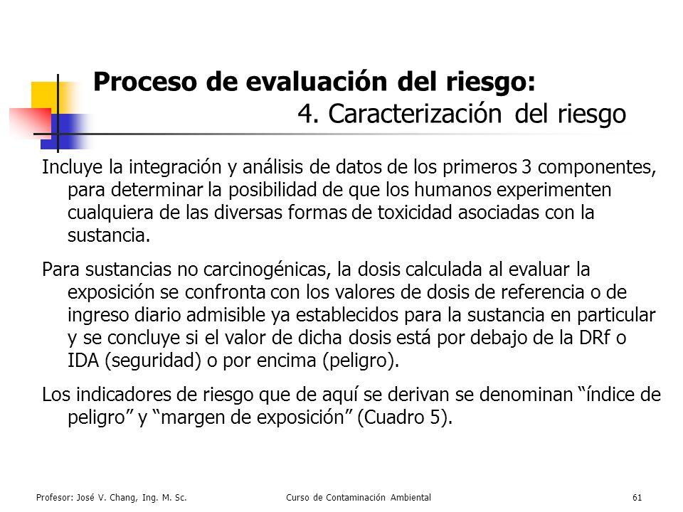 Profesor: José V. Chang, Ing. M. Sc.Curso de Contaminación Ambiental61 Proceso de evaluación del riesgo: 4. Caracterización del riesgo Incluye la inte