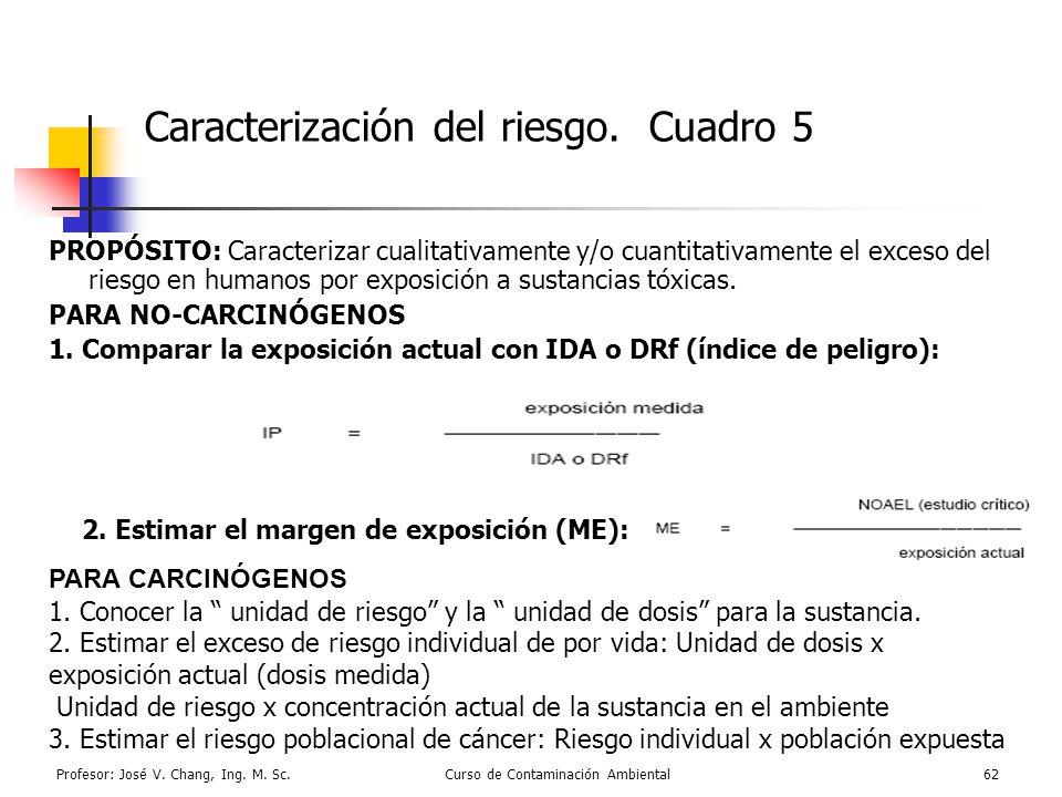 Profesor: José V. Chang, Ing. M. Sc.Curso de Contaminación Ambiental62 Caracterización del riesgo. Cuadro 5 PROPÓSITO: Caracterizar cualitativamente y