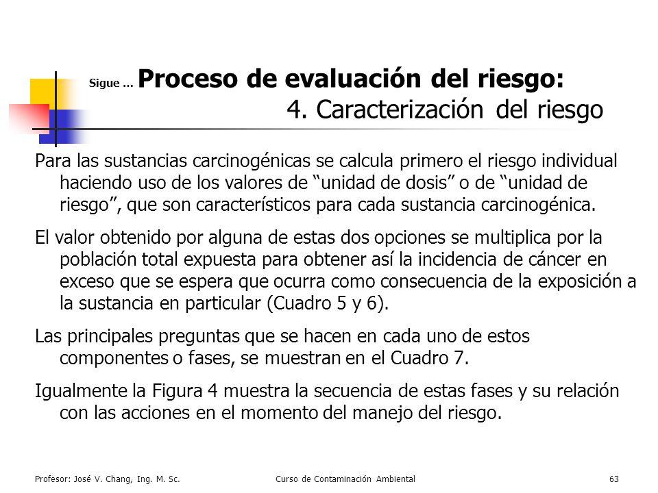 Profesor: José V. Chang, Ing. M. Sc.Curso de Contaminación Ambiental63 Sigue … Proceso de evaluación del riesgo: 4. Caracterización del riesgo Para la