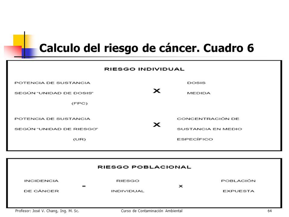 Profesor: José V. Chang, Ing. M. Sc.Curso de Contaminación Ambiental64 Calculo del riesgo de cáncer. Cuadro 6