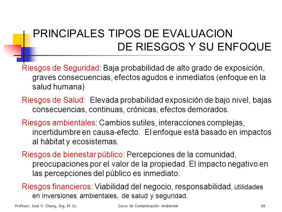 Profesor: José V. Chang, Ing. M. Sc.Curso de Contaminación Ambiental69 PRINCIPALES TIPOS DE EVALUACION DE RIESGOS Y SU ENFOQUE Riesgos de Seguridad: B