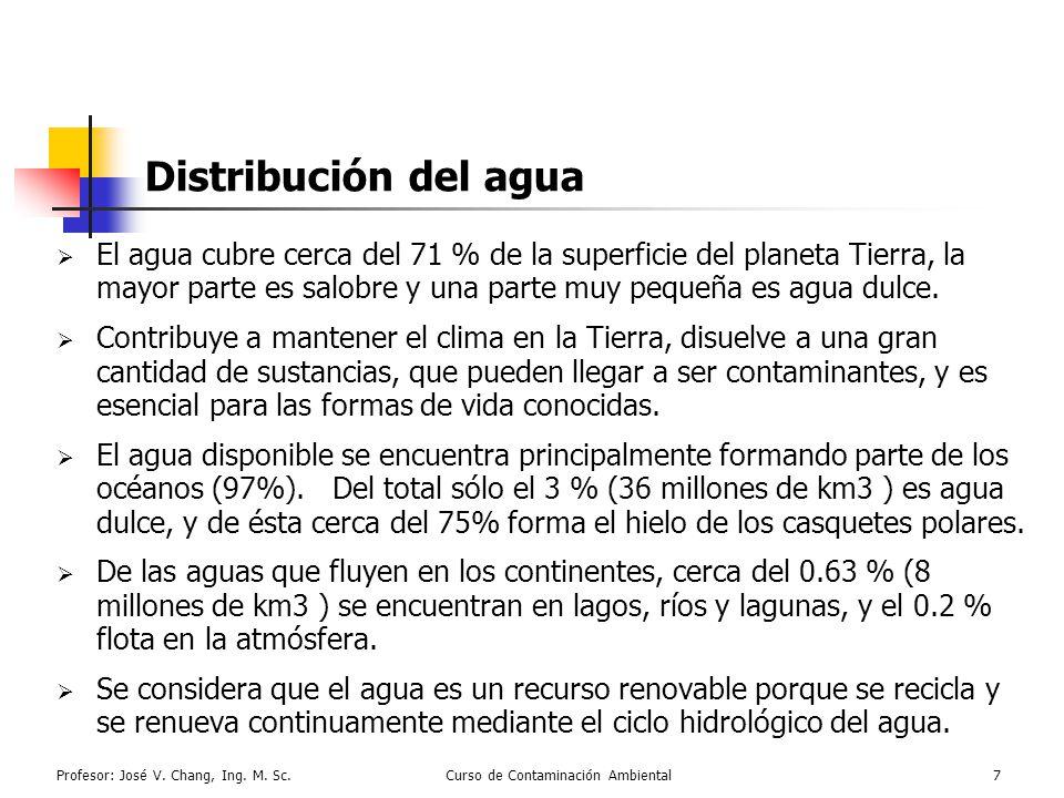 Profesor: José V. Chang, Ing. M. Sc.Curso de Contaminación Ambiental7 Distribución del agua El agua cubre cerca del 71 % de la superficie del planeta