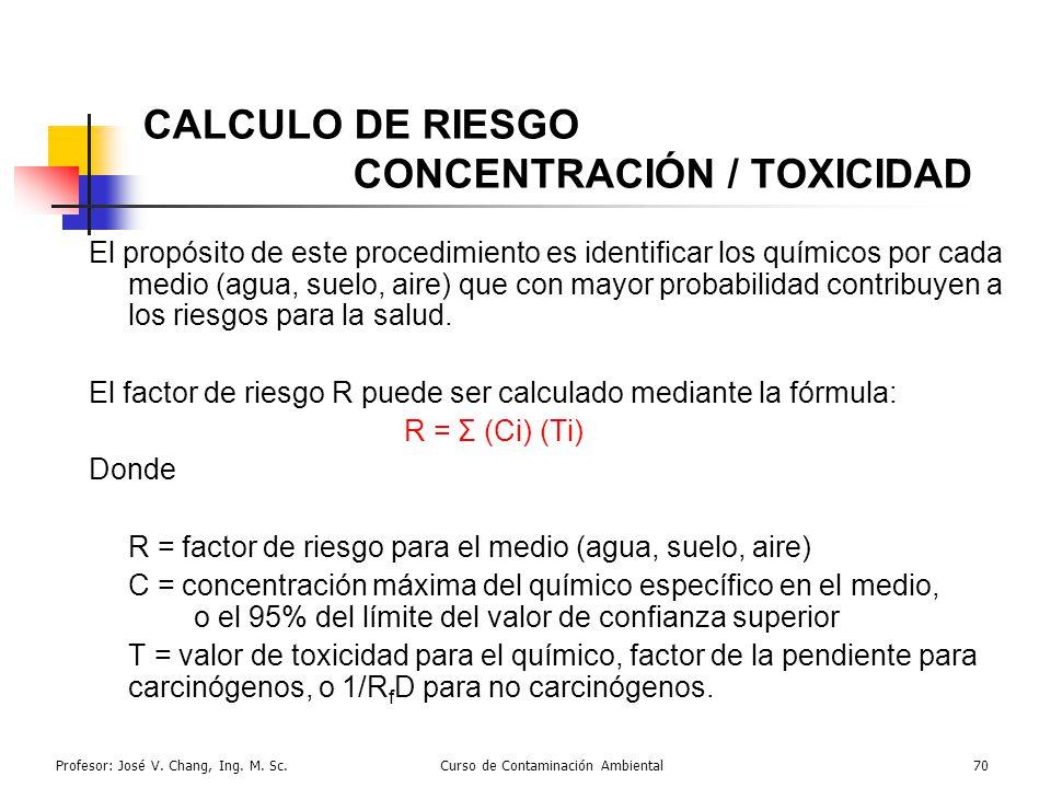 Profesor: José V. Chang, Ing. M. Sc.Curso de Contaminación Ambiental70 CALCULO DE RIESGO CONCENTRACIÓN / TOXICIDAD El propósito de este procedimiento