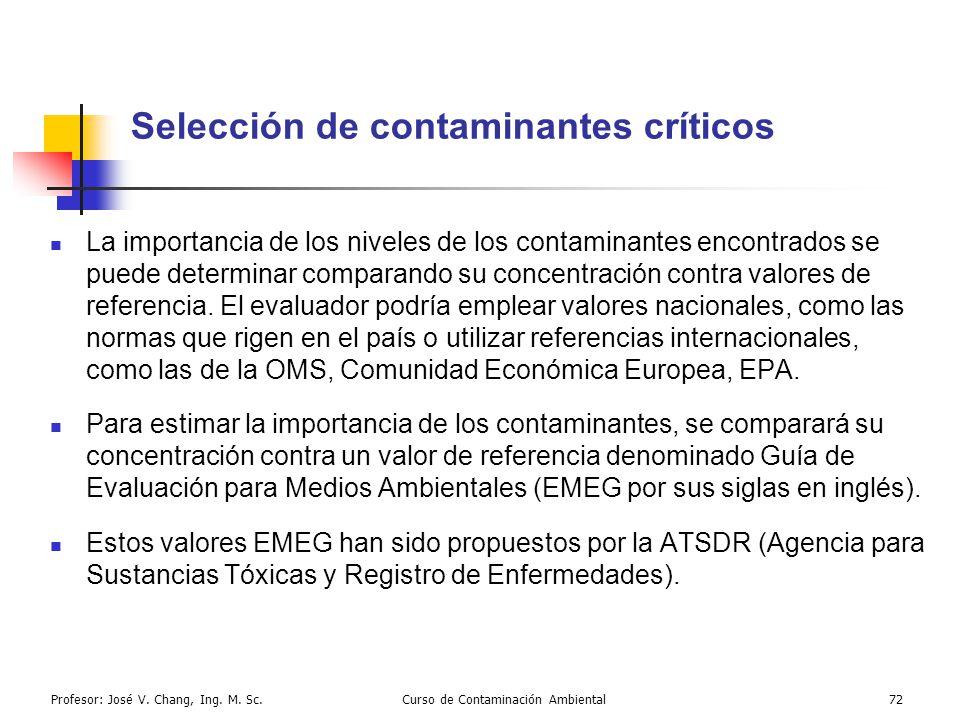 Profesor: José V. Chang, Ing. M. Sc.Curso de Contaminación Ambiental72 Selección de contaminantes críticos La importancia de los niveles de los contam