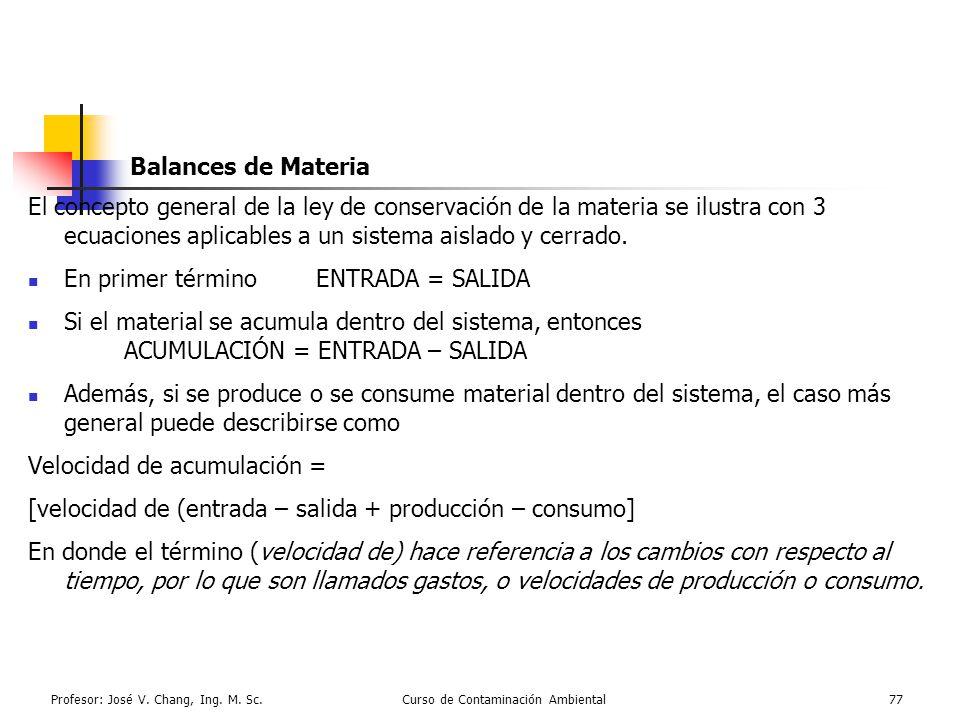 Profesor: José V. Chang, Ing. M. Sc.Curso de Contaminación Ambiental77 Balances de Materia El concepto general de la ley de conservación de la materia