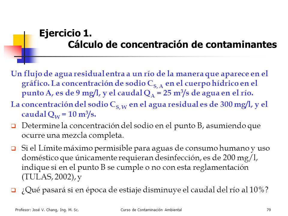 Profesor: José V. Chang, Ing. M. Sc.Curso de Contaminación Ambiental79 Ejercicio 1. Cálculo de concentración de contaminantes Un flujo de agua residua