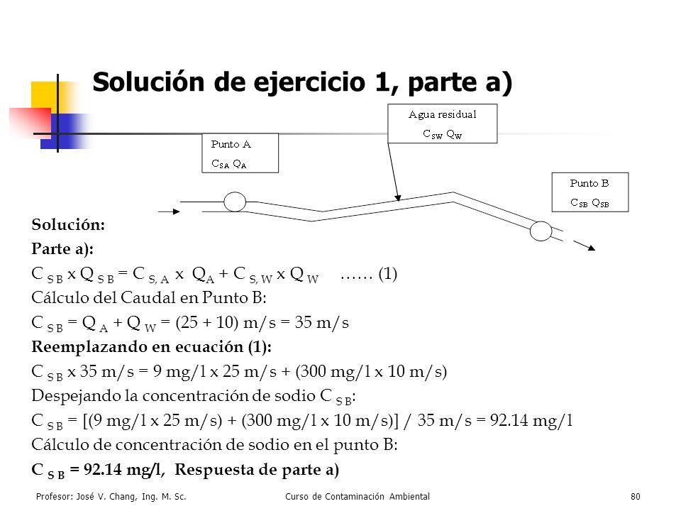 Profesor: José V. Chang, Ing. M. Sc.Curso de Contaminación Ambiental80 Solución de ejercicio 1, parte a) Solución: Parte a): C S B x Q S B = C S, A x