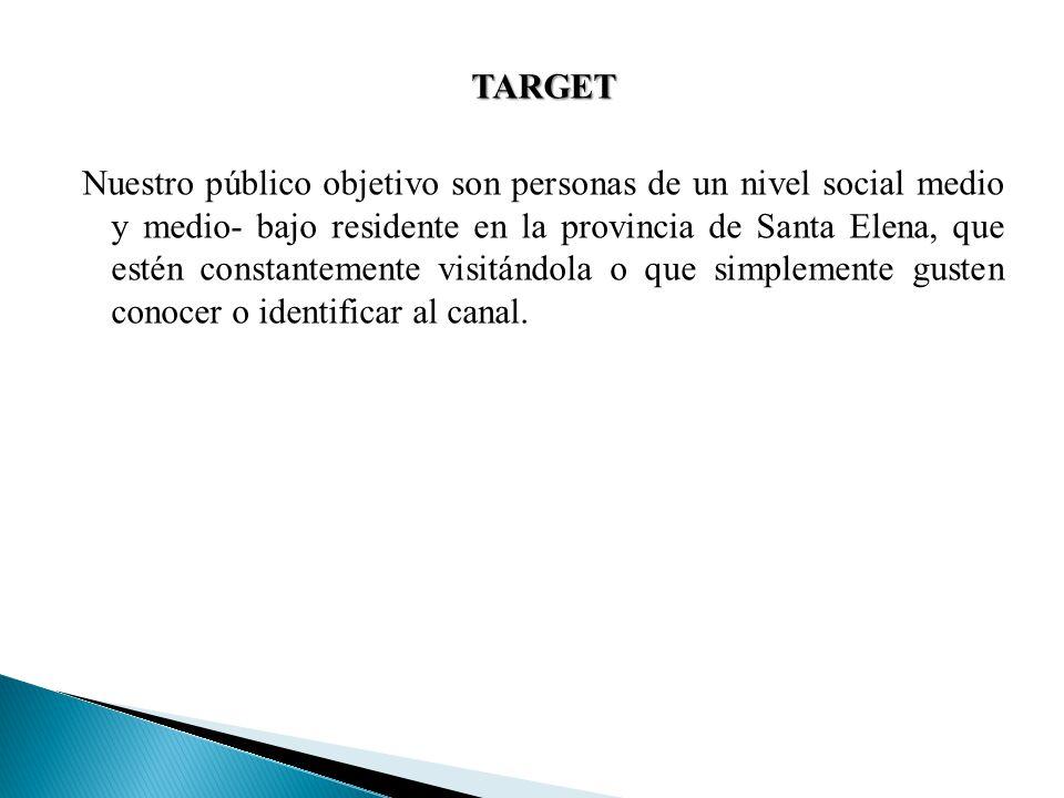 TARGET Nuestro público objetivo son personas de un nivel social medio y medio- bajo residente en la provincia de Santa Elena, que estén constantemente