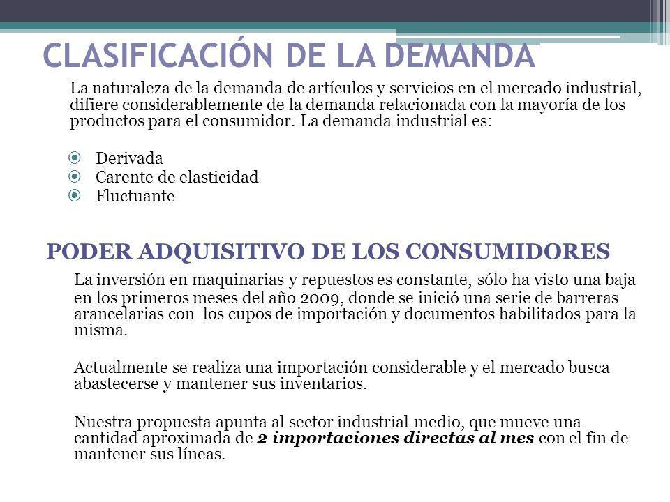 CLASIFICACIÓN DE LA DEMANDA La naturaleza de la demanda de artículos y servicios en el mercado industrial, difiere considerablemente de la demanda rel