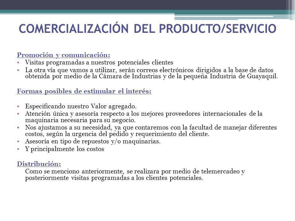 COMERCIALIZACIÓN DEL PRODUCTO/SERVICIO Promoción y comunicación: Visitas programadas a nuestros potenciales clientes La otra vía que vamos a utilizar,