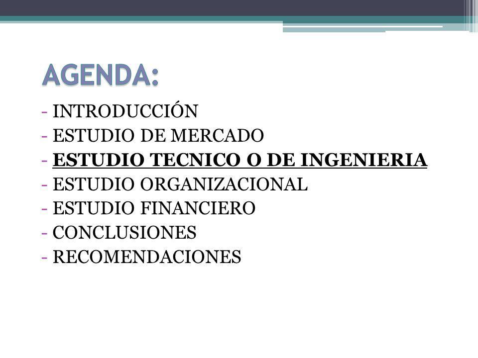 - INTRODUCCIÓN - ESTUDIO DE MERCADO - ESTUDIO TECNICO O DE INGENIERIA - ESTUDIO ORGANIZACIONAL - ESTUDIO FINANCIERO - CONCLUSIONES - RECOMENDACIONES
