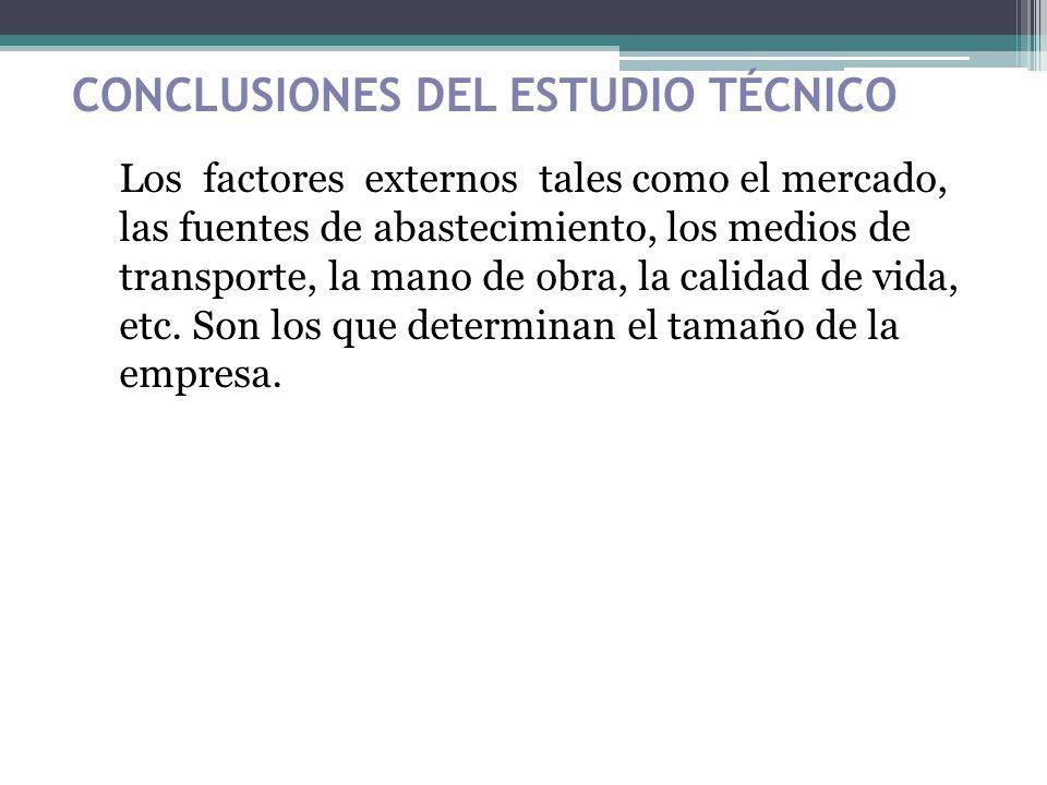 CONCLUSIONES DEL ESTUDIO TÉCNICO Los factores externos tales como el mercado, las fuentes de abastecimiento, los medios de transporte, la mano de obra