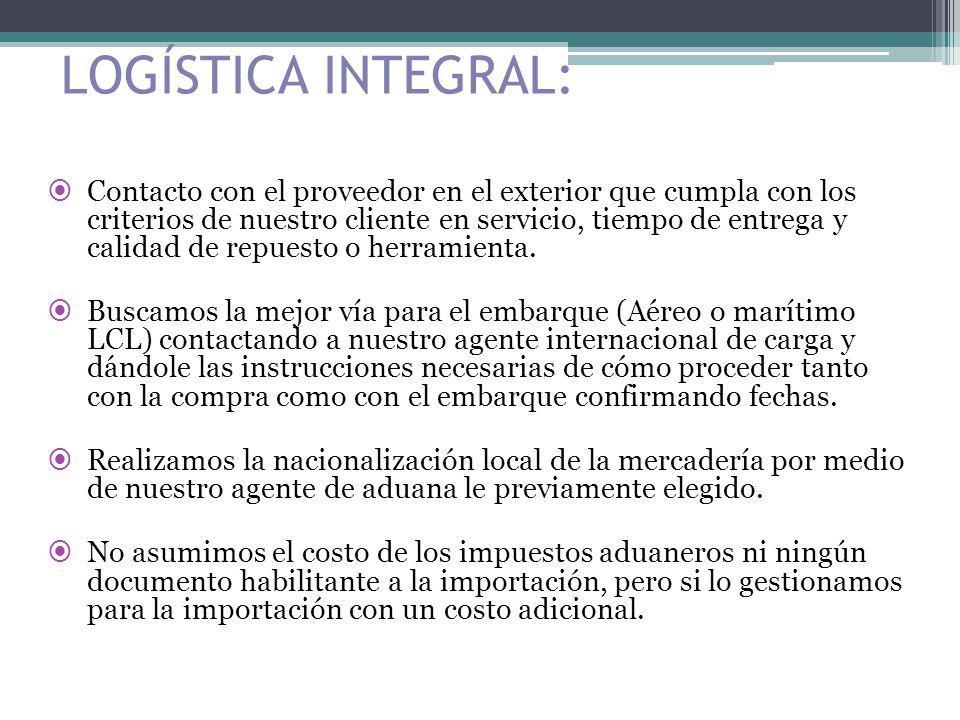 LOGÍSTICA INTEGRAL: Contacto con el proveedor en el exterior que cumpla con los criterios de nuestro cliente en servicio, tiempo de entrega y calidad