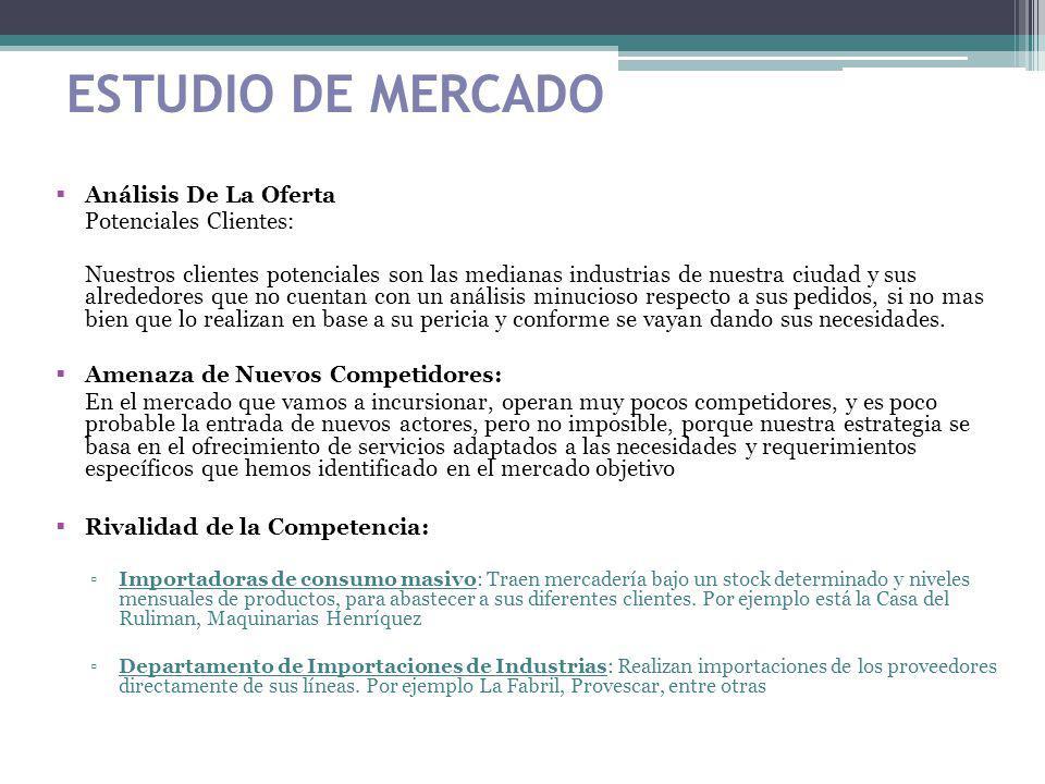 ESTUDIO DE MERCADO Análisis De La Oferta Potenciales Clientes: Nuestros clientes potenciales son las medianas industrias de nuestra ciudad y sus alred