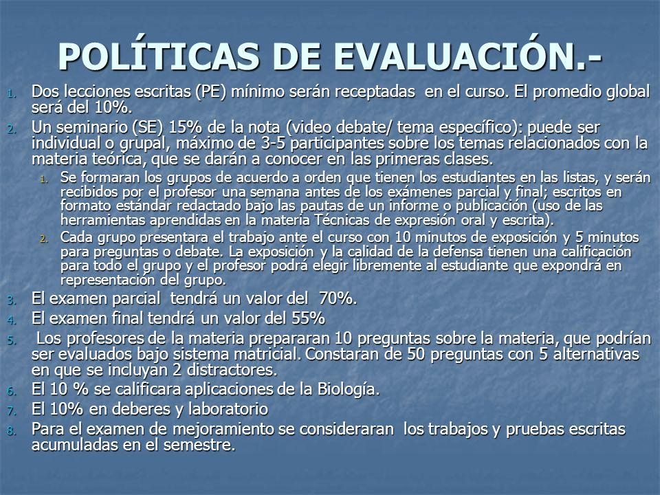 POLÍTICAS DE EVALUACIÓN.- 1.Dos lecciones escritas (PE) mínimo serán receptadas en el curso.