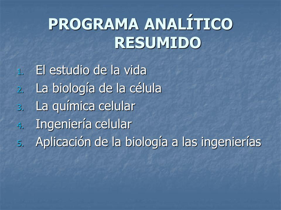 PROGRAMA ANALÍTICO RESUMIDO 1.El estudio de la vida 2.
