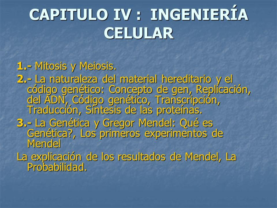 CAPITULO IV : INGENIERÍA CELULAR 1.- Mitosis y Meiosis.