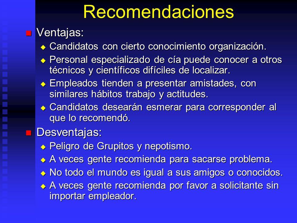 Recomendaciones Ventajas: Ventajas: Candidatos con cierto conocimiento organización.