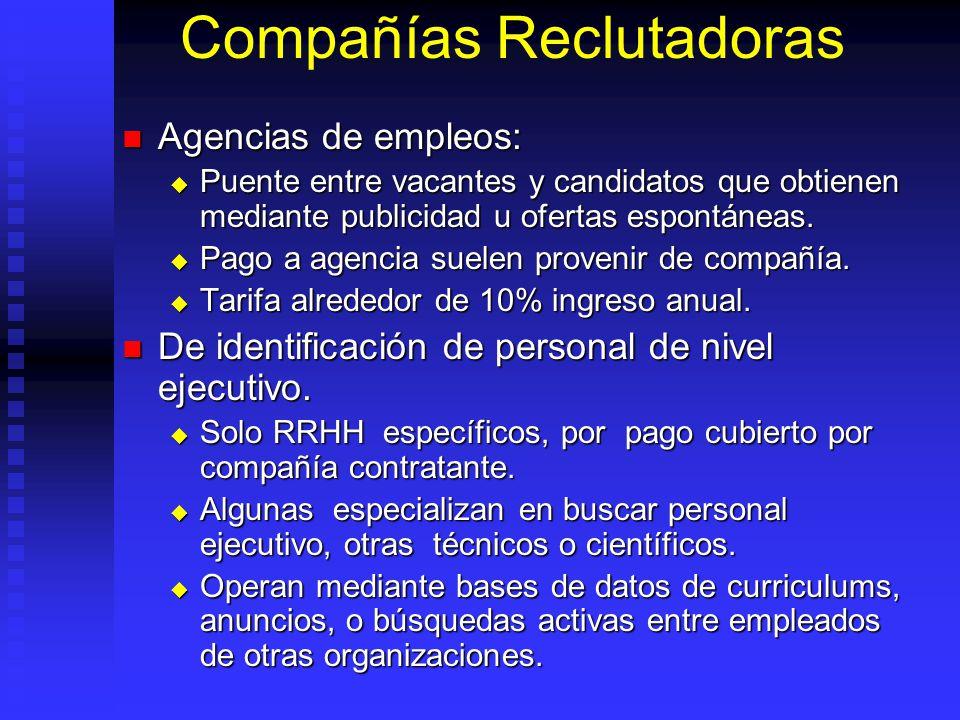 Compañías Reclutadoras Agencias de empleos: Agencias de empleos: Puente entre vacantes y candidatos que obtienen mediante publicidad u ofertas espontáneas.