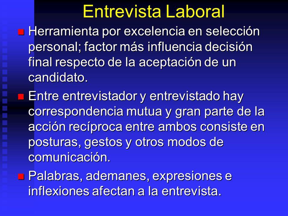 Entrevista Laboral Herramienta por excelencia en selección personal; factor más influencia decisión final respecto de la aceptación de un candidato.