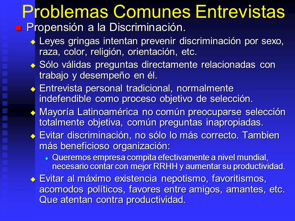 Problemas Comunes Entrevistas Propensión a la Discriminación.