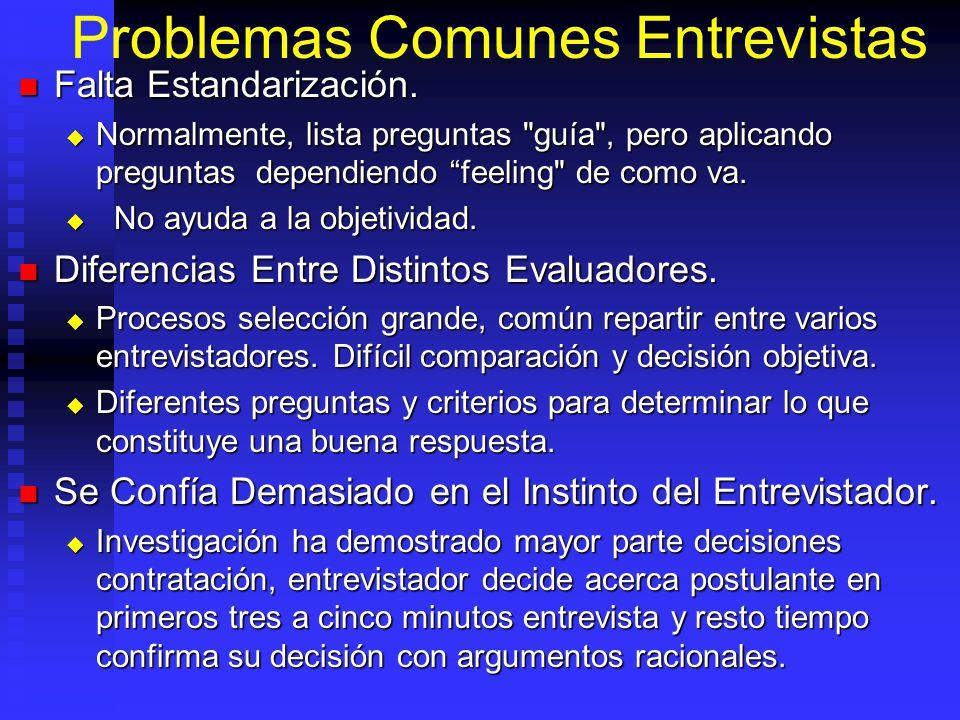Problemas Comunes Entrevistas Falta Estandarización.