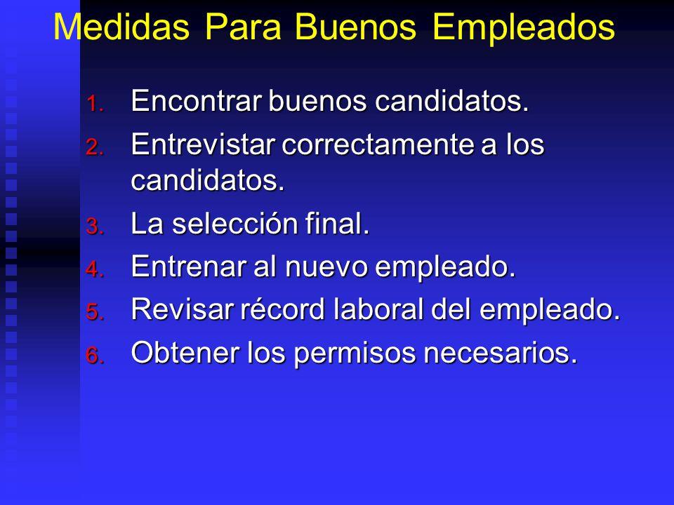 Medidas Para Buenos Empleados 1.Encontrar buenos candidatos.