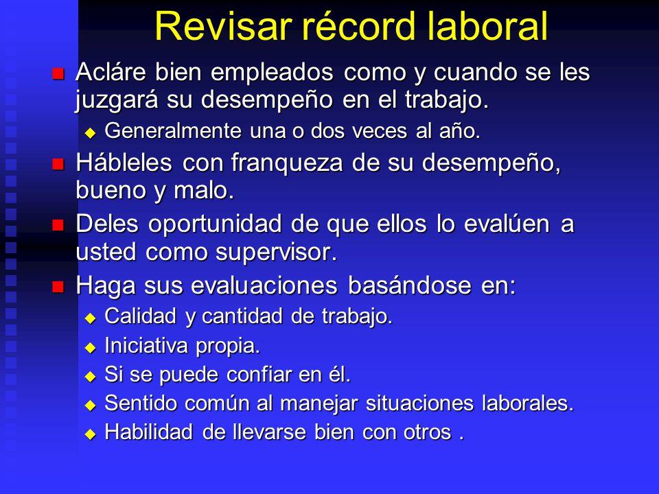 Revisar récord laboral Acláre bien empleados como y cuando se les juzgará su desempeño en el trabajo.