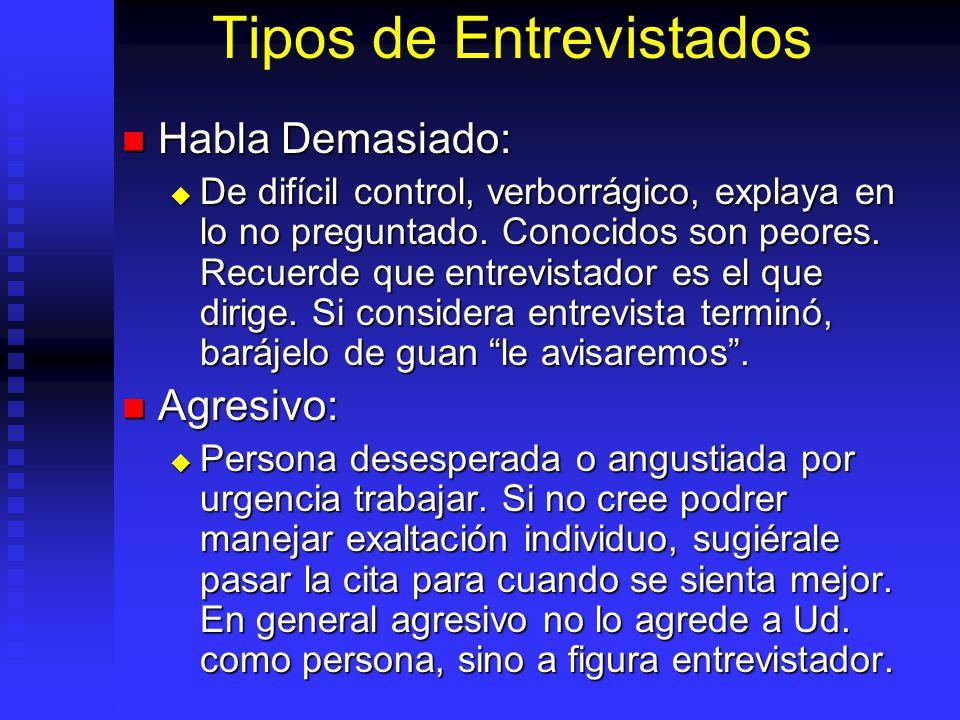 Tipos de Entrevistados Habla Demasiado: Habla Demasiado: De difícil control, verborrágico, explaya en lo no preguntado.