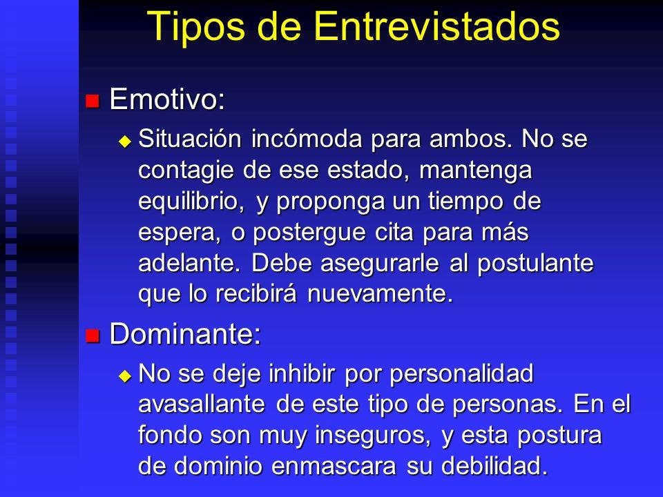 Tipos de Entrevistados Emotivo: Emotivo: Situación incómoda para ambos.
