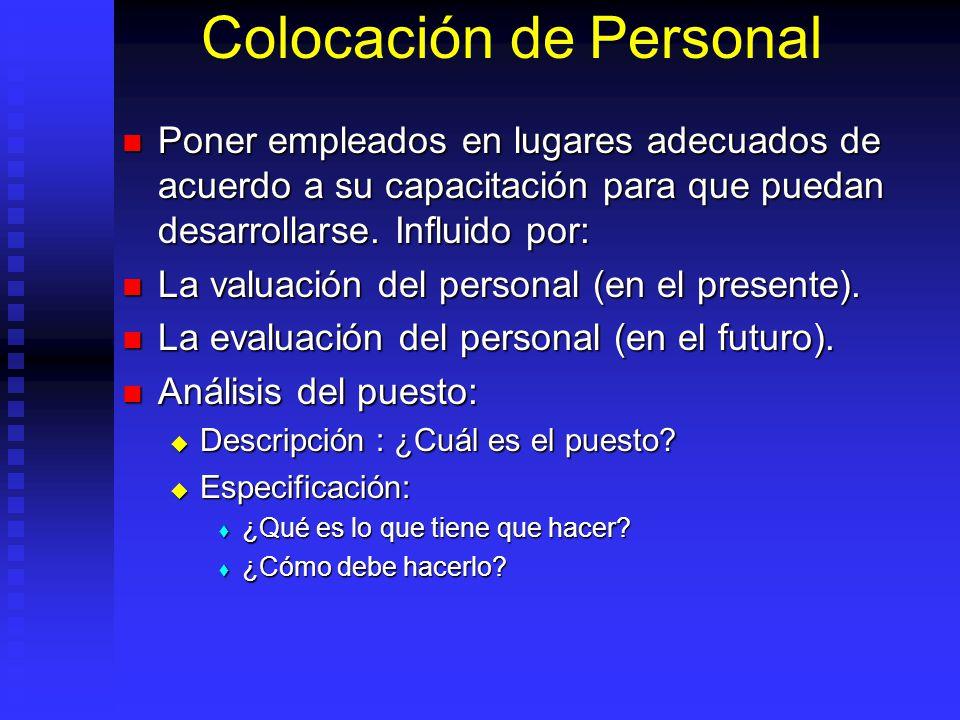 Colocación de Personal Poner empleados en lugares adecuados de acuerdo a su capacitación para que puedan desarrollarse.