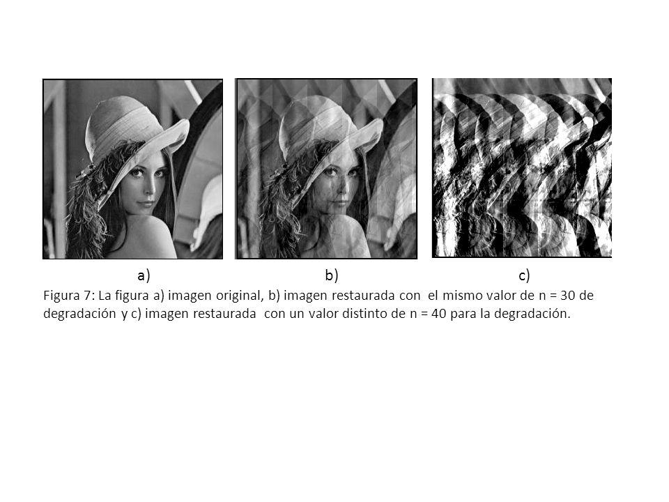 a)b)c) Figura 7: La figura a) imagen original, b) imagen restaurada con el mismo valor de n = 30 de degradación y c) imagen restaurada con un valor distinto de n = 40 para la degradación.