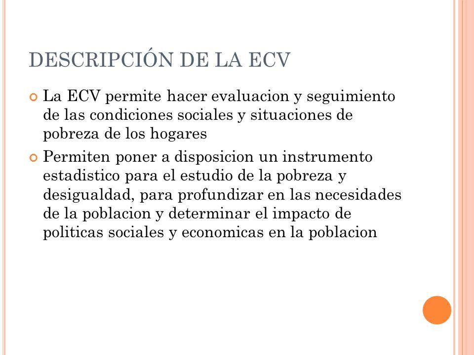 DESCRIPCIÓN DE LA ECV La ECV permite hacer evaluacion y seguimiento de las condiciones sociales y situaciones de pobreza de los hogares Permiten poner a disposicion un instrumento estadistico para el estudio de la pobreza y desigualdad, para profundizar en las necesidades de la poblacion y determinar el impacto de politicas sociales y economicas en la poblacion