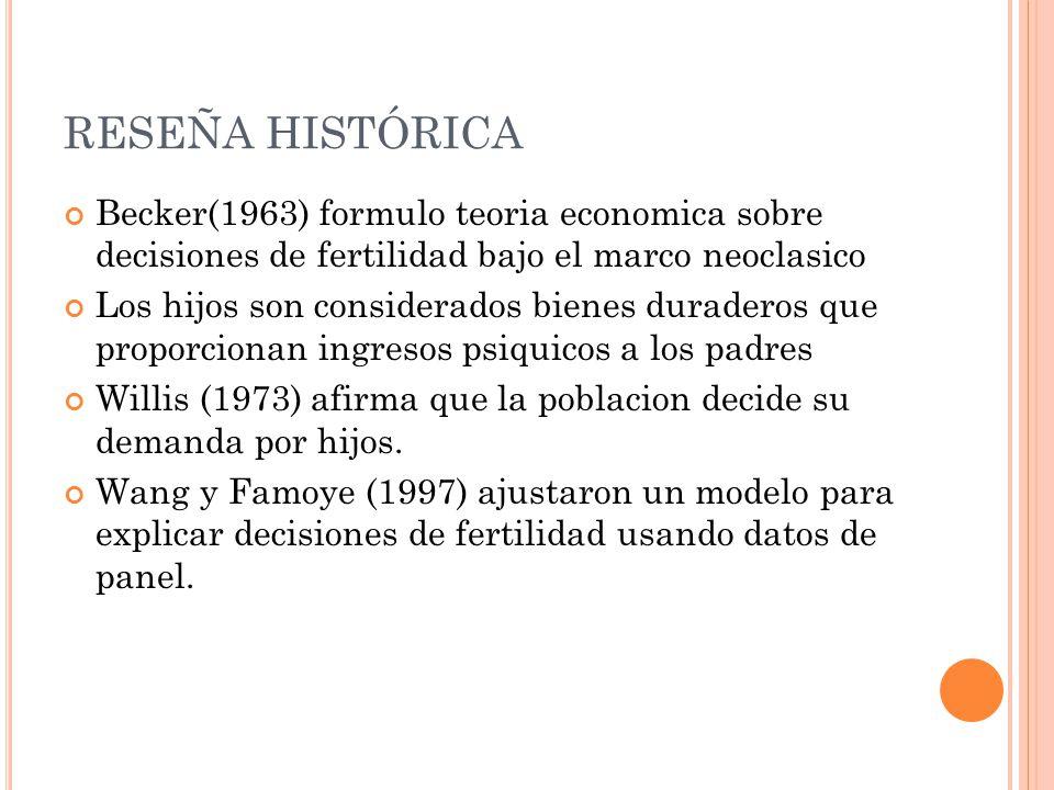 RESEÑA HISTÓRICA Becker(1963) formulo teoria economica sobre decisiones de fertilidad bajo el marco neoclasico Los hijos son considerados bienes duraderos que proporcionan ingresos psiquicos a los padres Willis (1973) afirma que la poblacion decide su demanda por hijos.