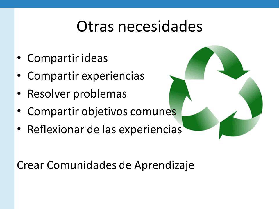 Otras necesidades Compartir ideas Compartir experiencias Resolver problemas Compartir objetivos comunes Reflexionar de las experiencias Crear Comunidades de Aprendizaje