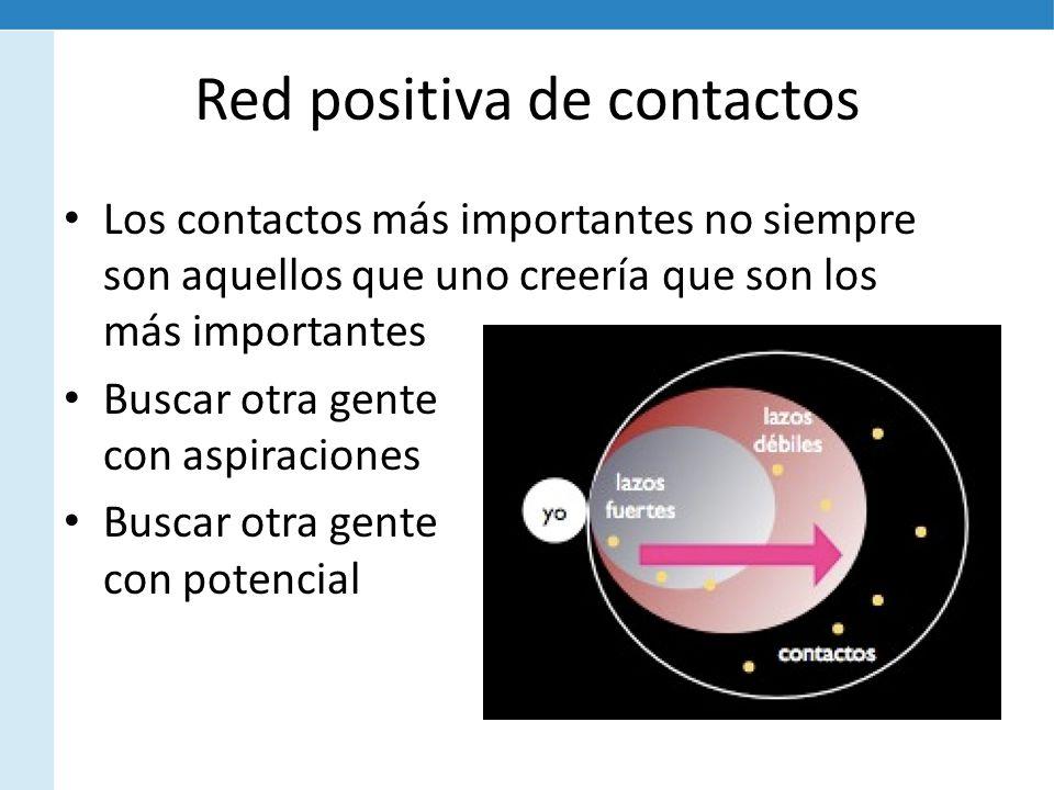 Red positiva de contactos Los contactos más importantes no siempre son aquellos que uno creería que son los más importantes Buscar otra gente con aspiraciones Buscar otra gente con potencial