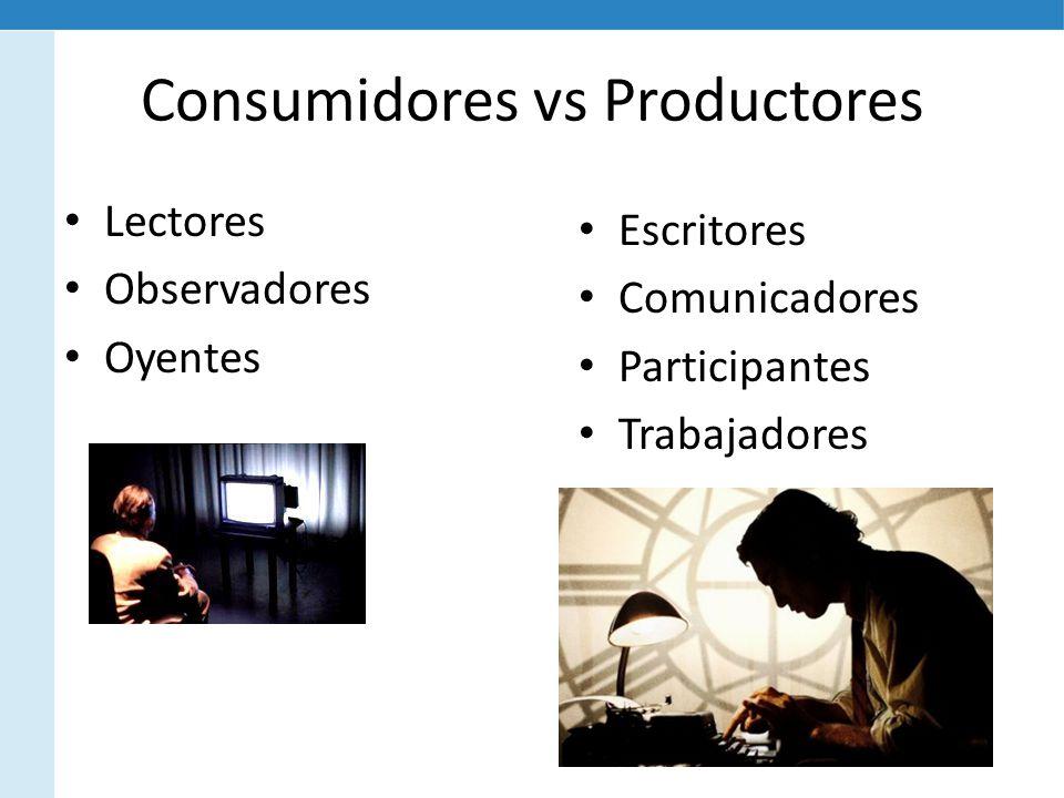 Consumidores vs Productores Lectores Observadores Oyentes Escritores Comunicadores Participantes Trabajadores