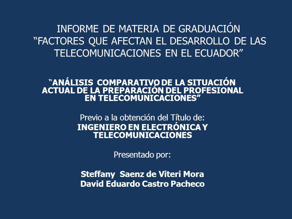 INFORME DE MATERIA DE GRADUACIÓN FACTORES QUE AFECTAN EL DESARROLLO DE LAS TELECOMUNICACIONES EN EL ECUADOR ANÁLISIS COMPARATIVO DE LA SITUACIÓN ACTUA