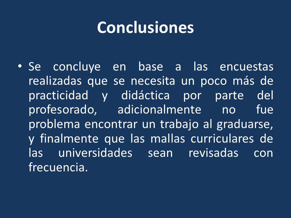 Conclusiones Se concluye en base a las encuestas realizadas que se necesita un poco más de practicidad y didáctica por parte del profesorado, adiciona